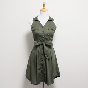 ModCloth YA Olive Green Retro Sleeveless Bow Dress